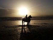 Sun-set bareback riding at Orcambe Point