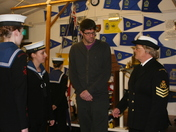 Stevenage FC goalkeeper presents Commendations to Stevenage Sea Cadet Corp.