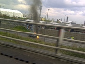 Car fire outside Westfield, Stratford