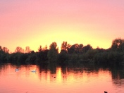 Autumn sunset over Fairlop Waters