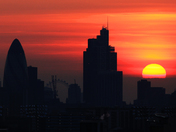 Sunset over the City of London