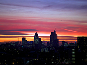 Sunset over the City of London and Olympic site from Stratford