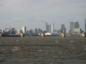Thames Barrier and London skyline
