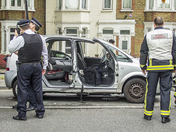 Crash causes Chaos for East London Traffic as a man is trapped in his car