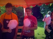 Enjoying theCandy Floss stall at Bredfield Church Fete