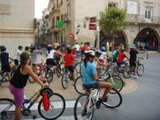 School children, cycling lesson in Spain