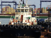 Tug boat in Felixstowe docks
