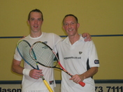 Mark Baggott and Bradley Ball after a squash match