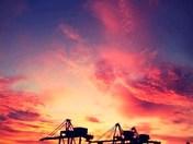 Sunset over Landguard Terminal at Felixstowe Port