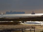 Leaving Felixstowe Docks on a Winters Day