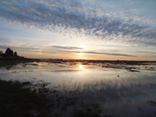 sunset over stiffkey marsh
