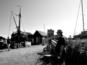 An Artist at work, Soutwold Harbour, in mono