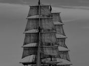 Tall Ship Mercedes off Gorleston Beach .in B&W
