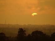 The setting sun over Norwich