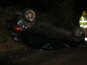 Topcroft, Norfolk, 17th Feb 2014 22:00 Overturned Vehicle