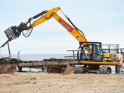 The Jetty on Great Yarmouth seafront being demolished.