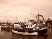 Sepia fishing boats