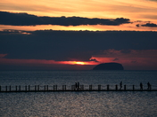 the sunset over the Bristol Channel from the Marine Lake in Weston on 11th Octob
