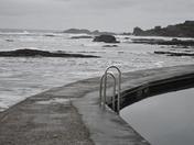 BUDE BEACH DEVON POOLSIDE VIEW COLOUR AND B/W