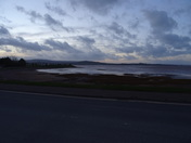Exmouth estuary after dusk, on a windy day.