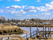 Morston harbour and village