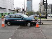 Car Accident Blocks Pedestrian Crossing