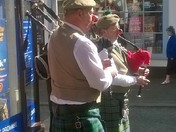 Bagpipes in Woodbridge, raising money for comic relief.