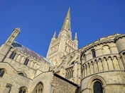 Norwich Cathedral looking beautiful in spring sunshine