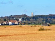 cley mill across the marshes.