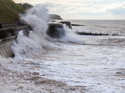 Cromer, high tide with cold northerly wind, April 25 2017
