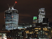 WALKIE TALKIE , CHEESE GRATER  AT NIGHT IN LONDON
