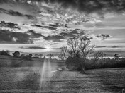B/w sunset over the Exe from the new path by Courtlands