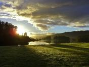 Skyline at sunrise over Loch Tummel