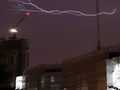 Lightning strikes Manhattan Loft gardens during London Storm