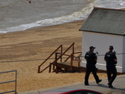 Armed Police on patrol on Felixstowe Prom