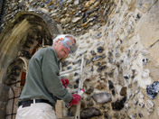 John Cunningham working hard to keep Hadleigh Church in good condition