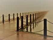 Misty or wet.