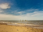 Happisburgh beach in the sunshine.