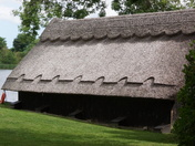 Thatched boat house.