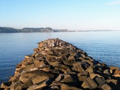 Looking from the end of the Cobb Wall in Lyme Regis, Dorset.