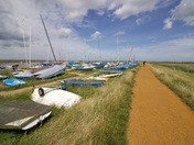 Walking the ridge at Blakeney Quay