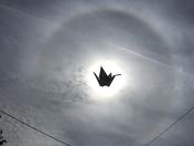 Peace crane eclipses sun over Harleston