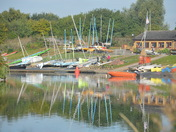 Reflections at the outdoor activity centre at Fairlop Waters