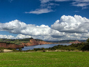 A coastal view of Ladram Bay and Sidmouth