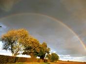 Rainbow in the golden Autumn evening sunlight at 6pm .