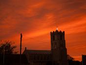 The orange sky seen over Coddenham Church this evening