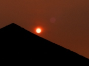 Red Sun setting over Great Garage Roof in the Valley of Hellesdon NR6?