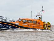 Lowestoft Lifeboat in the surf