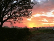 November sunrise over the fields at 6.45am