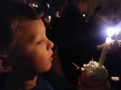 My angelic little grandson at the Christingle Service Norwich Catherdral